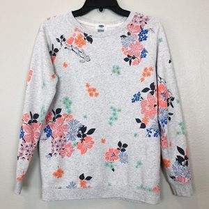 Old Navy Crew Neck Sweater Gray with Floral Print